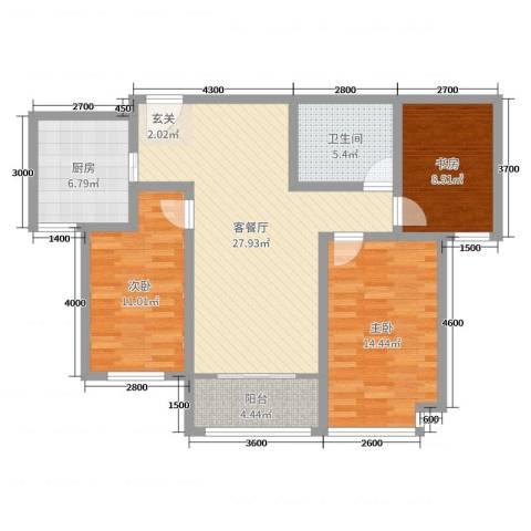 九源・书香园3室2厅1卫1厨110.00㎡户型图