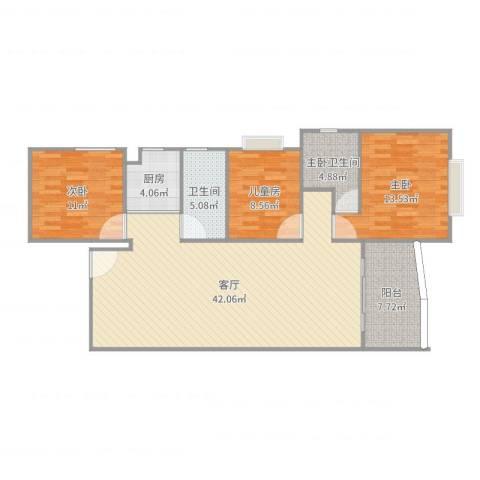 羊城花园3室1厅1卫1厨121.00㎡户型图