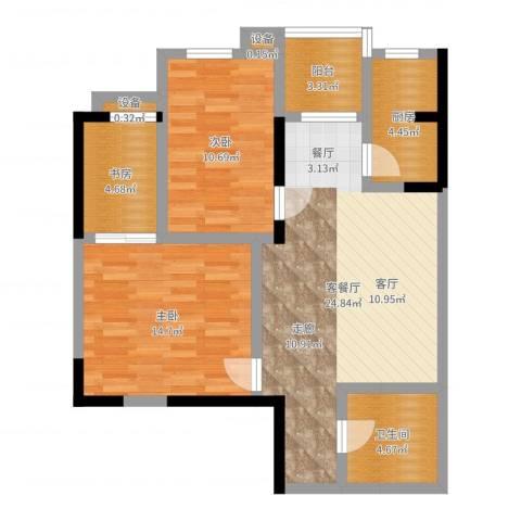 太乙城3室2厅1卫1厨85.00㎡户型图