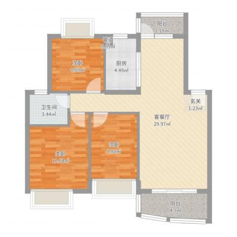雍景城别墅3室2厅2卫1厨92.00㎡户型图