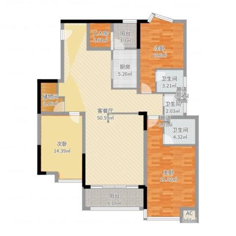 湖景壹号庄园别墅3室2厅3卫1厨164.00㎡户型图