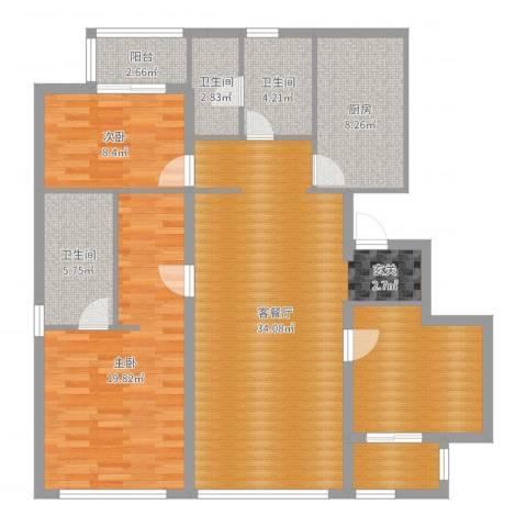 裕沁湖畔庭2室2厅3卫1厨123.00㎡户型图