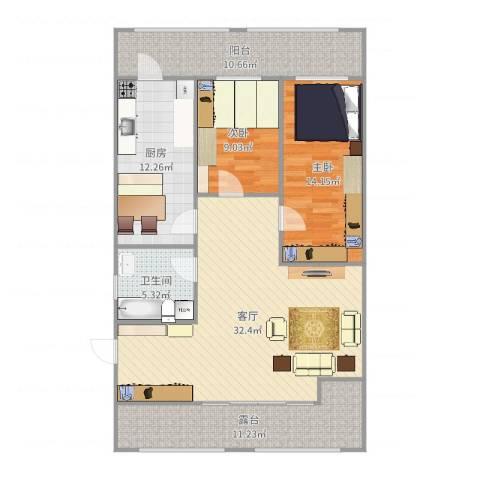 双发温泉花园2室1厅1卫1厨119.00㎡户型图