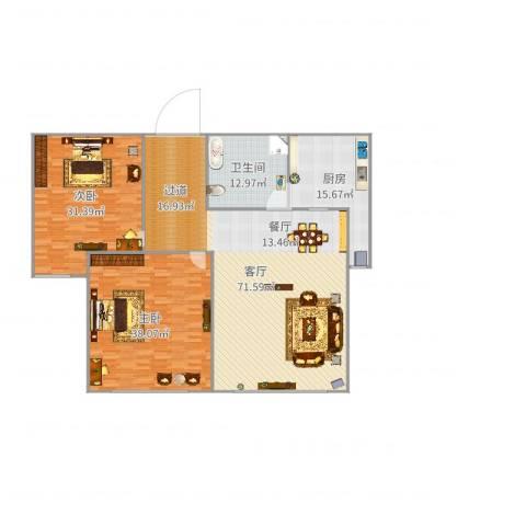 钻石湾地中海阳光2室1厅1卫1厨212.00㎡户型图