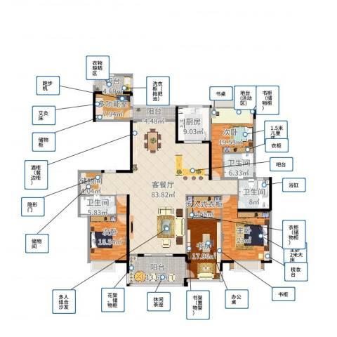 东江湾五居室新中式4室2厅3卫1厨233.07㎡户型图