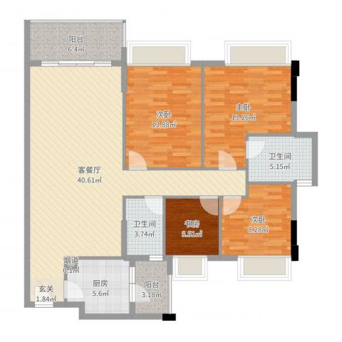 新长江顺心居4室2厅2卫1厨132.00㎡户型图