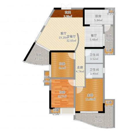 世纪金源御府3室2厅2卫1厨114.00㎡户型图