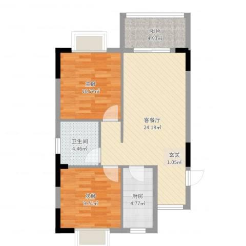 东方蓝城一号2室2厅1卫1厨58.79㎡户型图