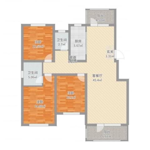 藁城理想城3室2厅2卫1厨136.00㎡户型图