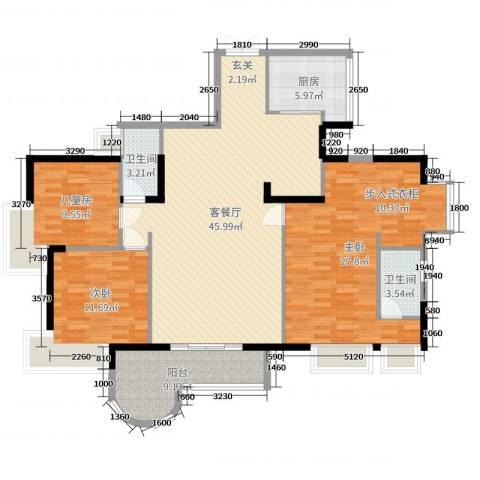 长安镇信义一号3室2厅2卫1厨148.00㎡户型图