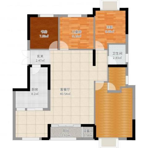 柏涟温莎名苑3室2厅1卫1厨125.00㎡户型图