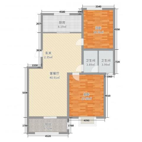 新世纪花园2室2厅2卫1厨100.00㎡户型图