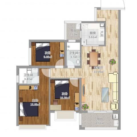 盛世华庭3室2厅2卫1厨117.00㎡户型图