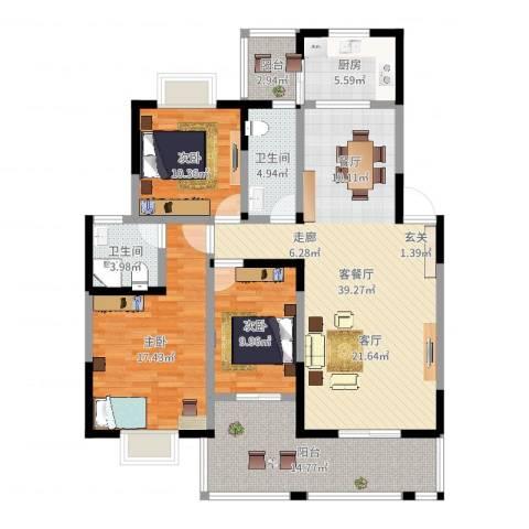 丽水山川3室2厅2卫1厨137.00㎡户型图
