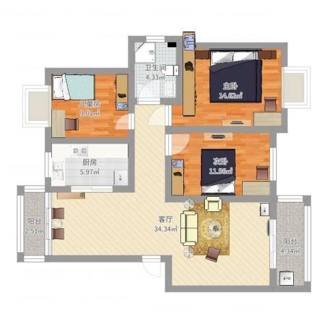 安粮中央花园3室1厅1卫1厨108.00㎡户型图