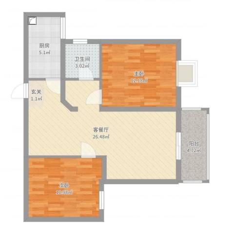 逸景湾2室2厅1卫1厨78.00㎡户型图