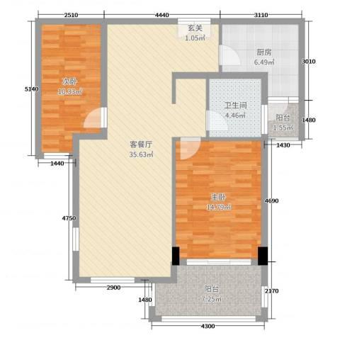 三川御锦台2室2厅1卫1厨101.00㎡户型图