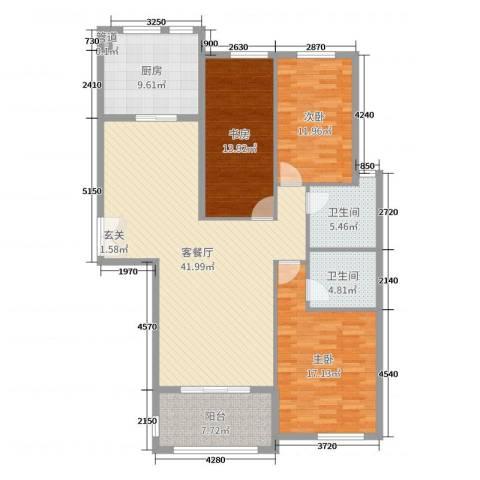 三川御锦台3室2厅2卫1厨141.00㎡户型图