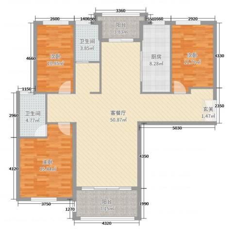 三川御锦台3室2厅2卫1厨146.00㎡户型图