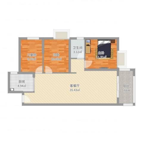 桃源华庭3室2厅1卫1厨99.00㎡户型图