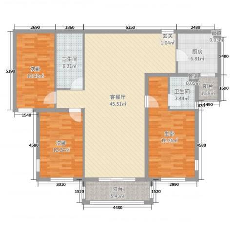 三川御锦台3室2厅2卫1厨137.00㎡户型图