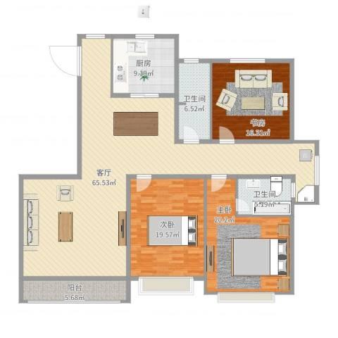 隆安东方明珠3室1厅2卫1厨185.00㎡户型图