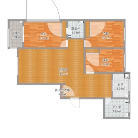 《徐水锦绣家园》3室2厅2卫1厨1阳-乐活3室2厅2卫1厨110.00㎡户型图