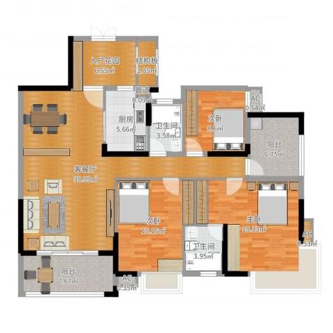 中恒公园大地花园3室2厅2卫1厨148.00㎡户型图
