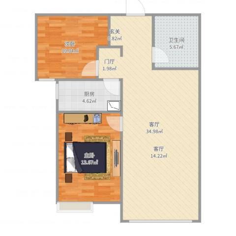 K2·京南狮子城2室1厅1卫1厨86.00㎡户型图