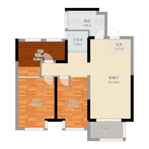 金地湖城艺境2室2厅1卫1厨99.00㎡户型图
