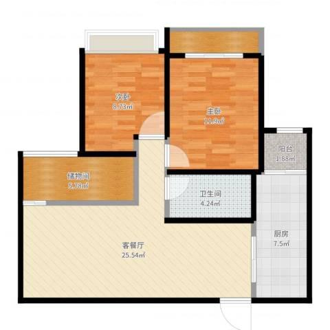 鼓楼广场2室2厅1卫1厨85.00㎡户型图