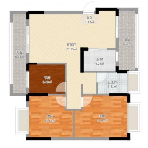 恒产.城市今典3室2厅1卫1厨101.00㎡户型图