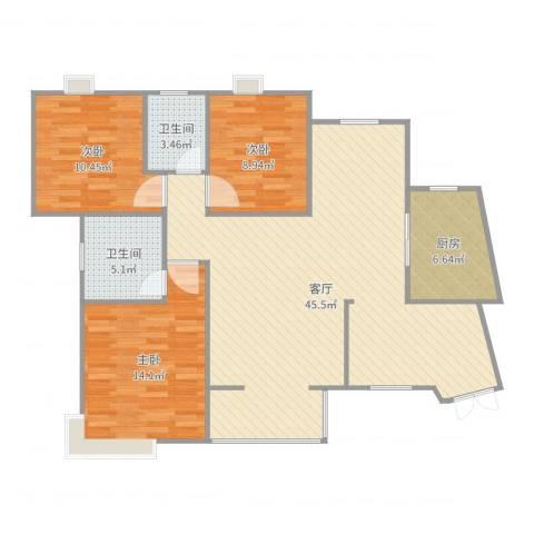 世纪城龙宇苑3室1厅2卫1厨118.00㎡户型图