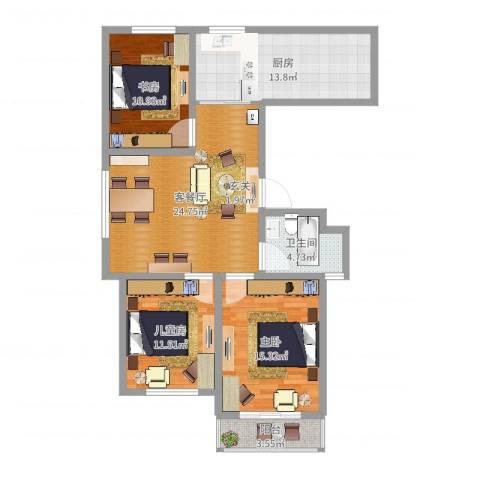 长峰尚海湾3室2厅1卫1厨106.00㎡户型图