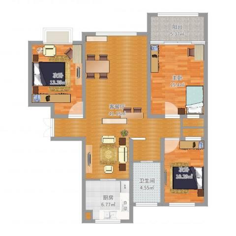 玉香园3室2厅1卫1厨123.00㎡户型图