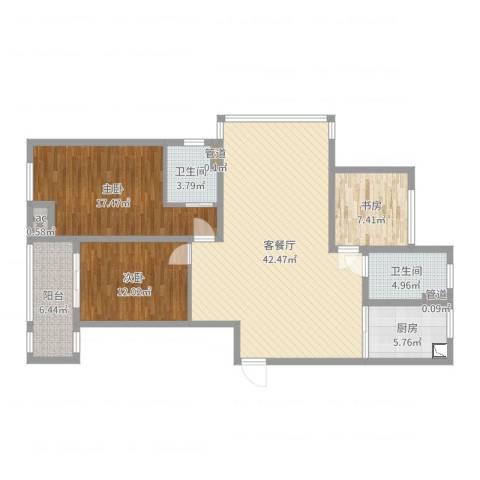 绿洲白马公馆3室2厅5卫1厨126.00㎡户型图
