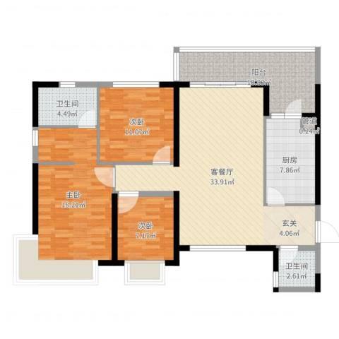 防城港恒大御景湾3室2厅2卫1厨121.00㎡户型图