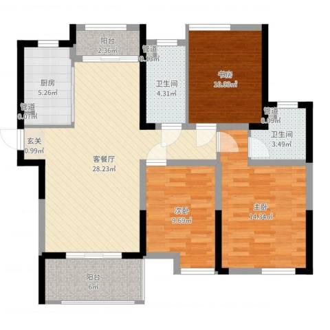 济民可信艾溪康桥3室2厅2卫1厨105.00㎡户型图