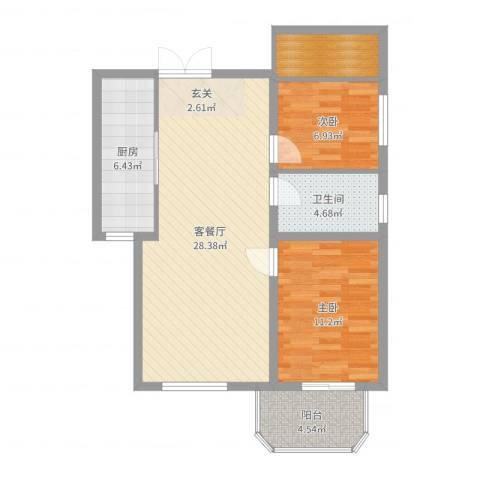 望伟花园2室2厅1卫1厨82.00㎡户型图