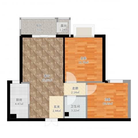 永康水印城2室1厅1卫1厨73.00㎡户型图