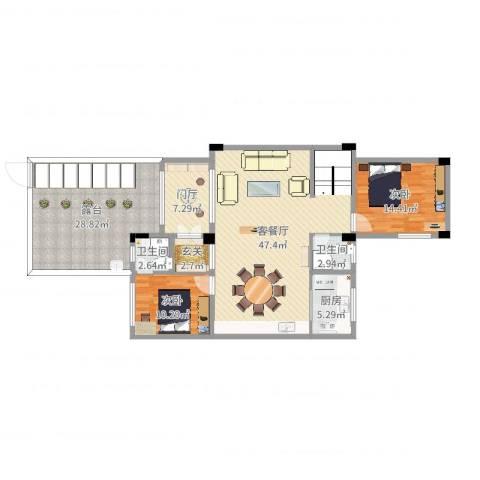 金科廊桥水乡别墅2室2厅2卫1厨152.00㎡户型图