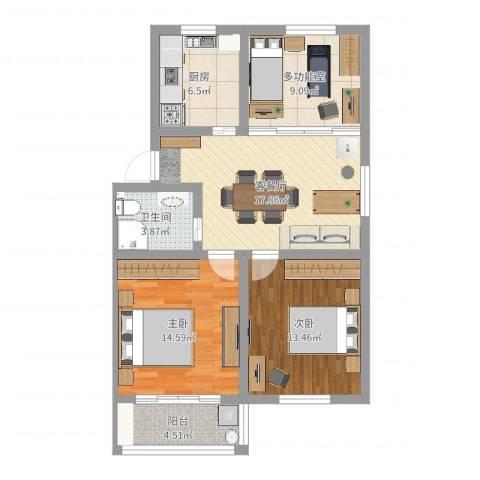 苏安新村2室2厅1卫1厨92.00㎡户型图