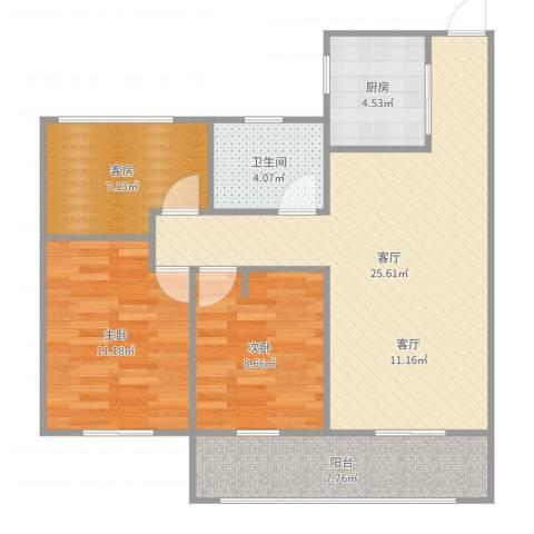 梧桐公馆2室1厅1卫1厨86.00㎡户型图