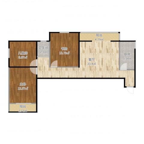 芍药居北里3室1厅1卫1厨97.00㎡户型图