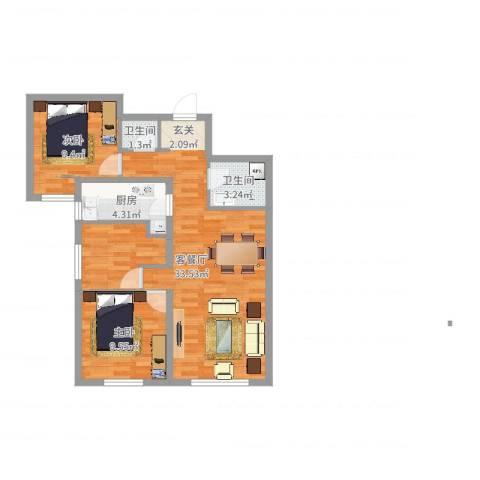泷悦长安2室2厅2卫1厨77.00㎡户型图