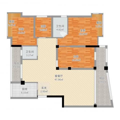 金沙湾四期碧海园4室2厅2卫1厨163.00㎡户型图