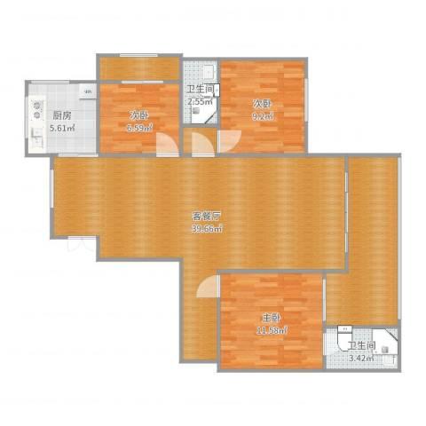 路桥大厦3室2厅2卫1厨116.00㎡户型图