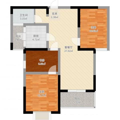 天龙居3室2厅1卫1厨90.00㎡户型图