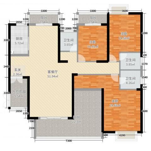 中建江山壹号3室2厅3卫1厨190.00㎡户型图