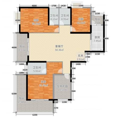 中建江山壹号3室2厅3卫1厨202.00㎡户型图